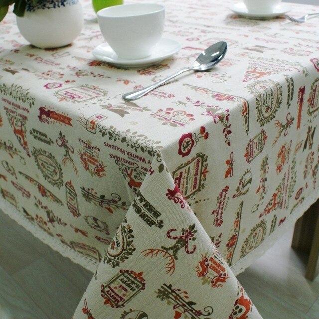 Скандинавская Рождественская скатерть из хлопка и льна, кружевные окантовки, чехол для кухонного обеденного стола, Рождественский Декор для стола, новогодвечерние