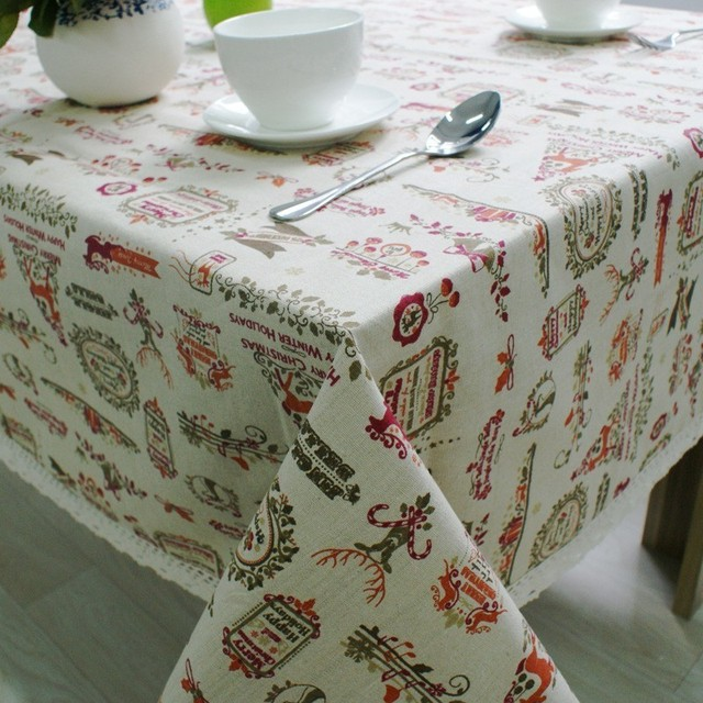 Nordic Christmas Table Cloth Cotton Linen Lace Edging Happy Holiday Kitchen Dining Table Cover Xmas Table Decor New Year Party