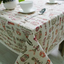 Nordic คริสต์มาสตารางผ้าฝ้ายผ้าลินินลูกไม้ขอบ Happy Holiday KITCHEN โต๊ะรับประทานอาหารคริสต์มาสตกแต่งปีใหม่