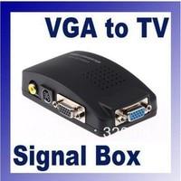 Retail Brand New Universal PC VGA to TV AV RCA Signal Adapter Converter Video Switch Box Supports NTSC PAL system