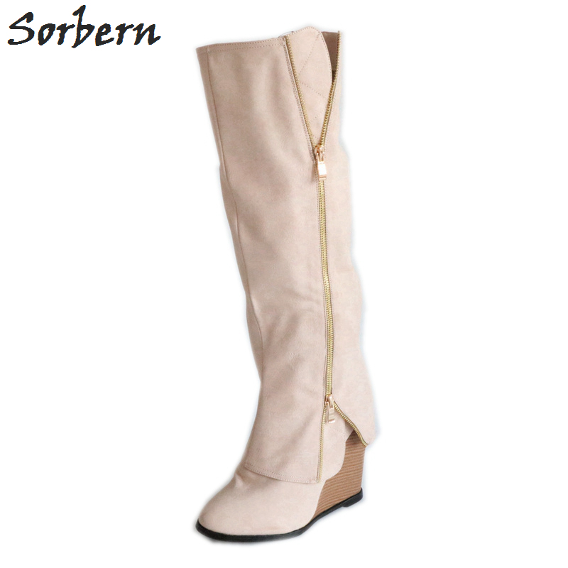Personnalisée À Femmes Khaki Rond Wedge Talons custom Designer Couleur Genou Color Hauts Haute Chaussons Hiver Sorbern Bottes Bout Chaussures HwI7W0