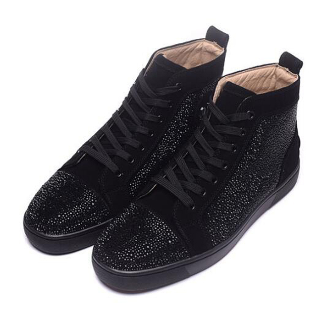 bb34ac24372 Black Glitter Suede Leather Shoes For Men Fashion Luxury Designer Shoes Men  Casual High Top Flats Mens Large Size Free Shipping