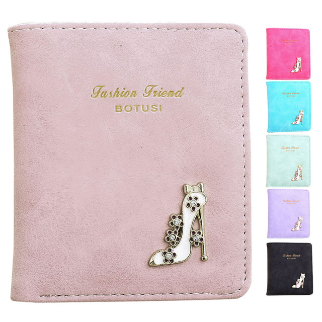 Dollar Price Women Short Purse 2017 Fashion Girl High Heels PU Leather Small Wallet Coin Purse Wallet carteras mujer bolsa