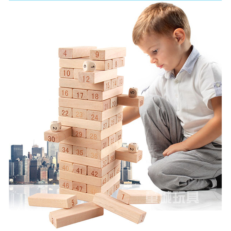 Wooden Tower digital Building Blocks Toy Domino 51pcs Stacker Extract Building Educational Jenga family games lepin naruto totor elc 100 bricks toy wooden building blocks storage bag confirm to en 71 freeshipping