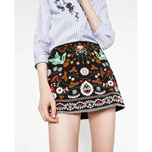 KLV Womens High Waist Vintage Ethnic Flower Embroidered A Line Bodycon Short Mini Skirt