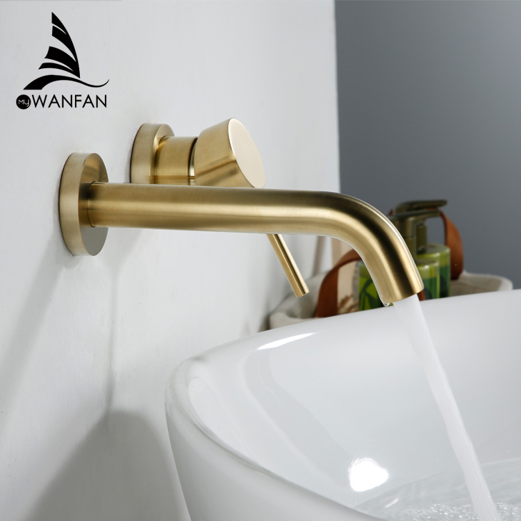 basin faucets wall mounted brass bathroom sink basin mixer tap faucet matte gold faucet one handle bathroom faucets 855011j