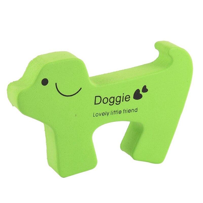 Cartoon Dog Shape Finger Protector Door Stopper Safety Guard Green