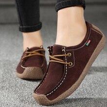 여성 플랫 정품 가죽로 퍼 레이스 접는 Moccasins 접이식 캐주얼 신발 숙 녀 광장 발가락 여성 Zapatos Mujer