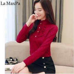 La MaxPa большой Для женщин блузка 2018 Новая осень с длинным рукавом и стоячим воротником оборками кружева рубашки Для женщин Элегантный Теплый