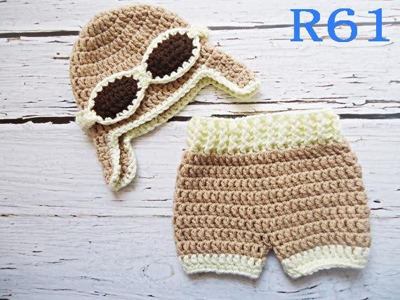 Free Shipping Crochet Baby Khaki Aviator Caps With Diaper Cover