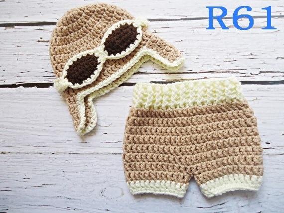 Free shipping Crochet Baby khaki aviator caps with Diaper cover ... 1d88a7b3c8b