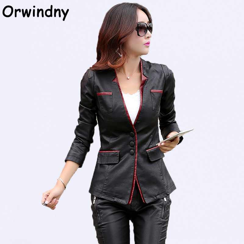 Orwindny V-Neck Leather Clothing Women Spring Autumn OL Jackets Leather Female Leather Coat Slim Fashion Plus Size XS-3XL Suede