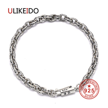 100% Real 925 Sterling Silver Bracelets Fashion Punk Hand Chain For Men And Women Special Jewelry Charm Bracelet 036 недорого