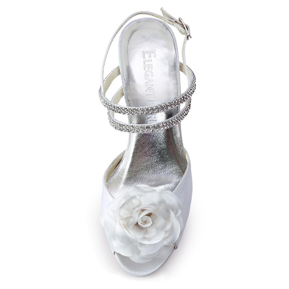 Satinado Talón Mujeres Ivory Flor white Atractivas Zapatos Alto Plataforma Rhinestone Sandalias Del Boda pf Las Blanco Mujer Ep11087 Z7qwgHHx