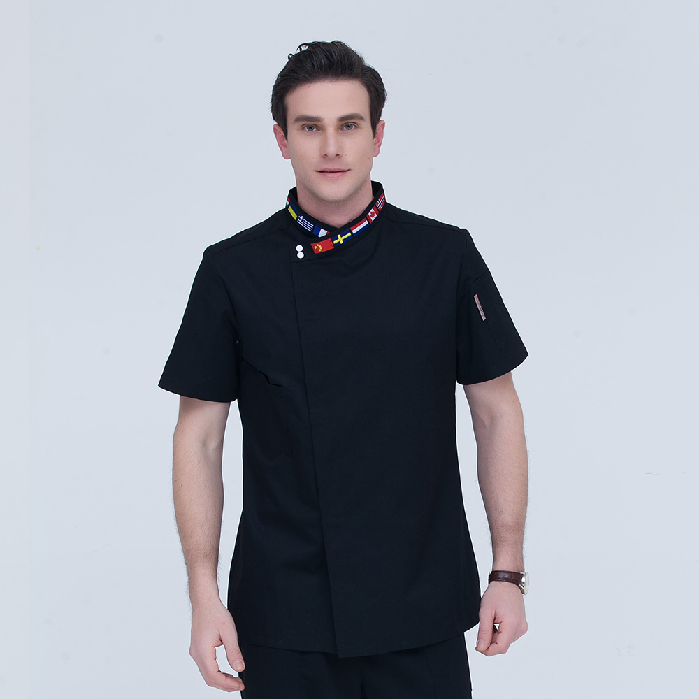 Black Neckline Embroidered Flag Short-sleeve Chef Jacket Restaurant Hotel Cook Suit Home Coat Kitchen Work Clothes Overalls