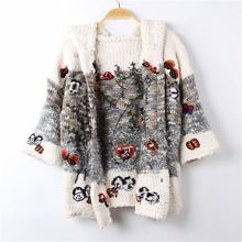 Autumn Winter Euro Style High Quality Fashion Womens Gray Knitting Hooded Outwear Female Long Sweaters Cardigan Coats