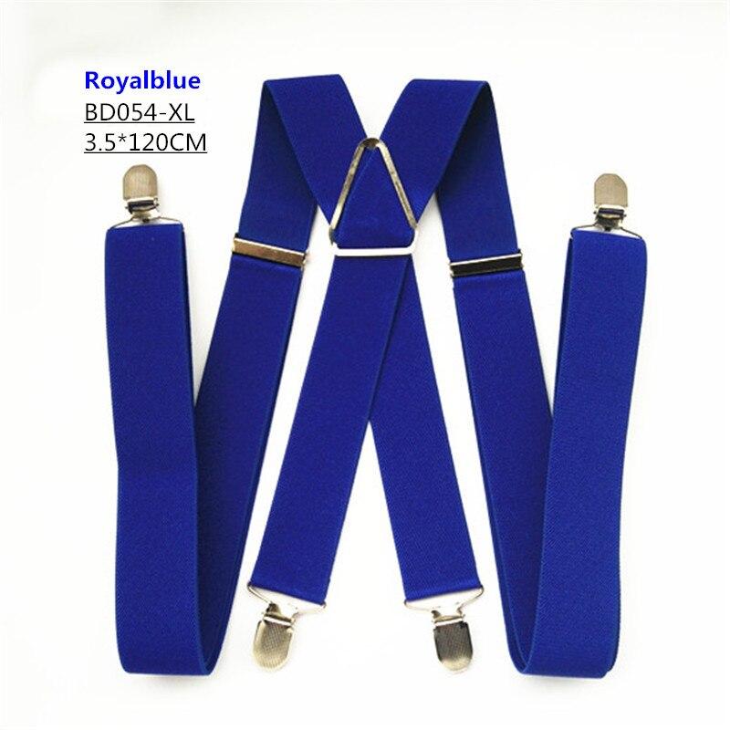 Одноцветные подтяжки унисекс для взрослых, мужские XXL, большие размеры, 3,5 см, ширина, регулируемые эластичные, 4 зажима X сзади, женские брюки, подтяжки, BD054 - Цвет: Royal blue-120cm