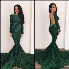 Elegante 2017 Emerald Green Abendkleider Meerjungfrau Langarm Sexy Back Formales Partei Pageant Kleider Mit Spitze Appliques