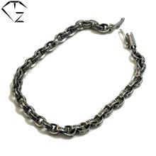 925 Sterling Silver Bracelet Christmas Gifts Vintage 5/ 6MM 17-25cm S925 Solid Thai Silver Bracelet Men Women Jewelry