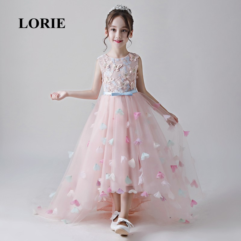 LORIE High Low   Flower     Girl     Dresses   O-Neck A Line Appliques   Flowers   Pink Primera comunion   Girl   Party Pageant   Dresses   for   Girls