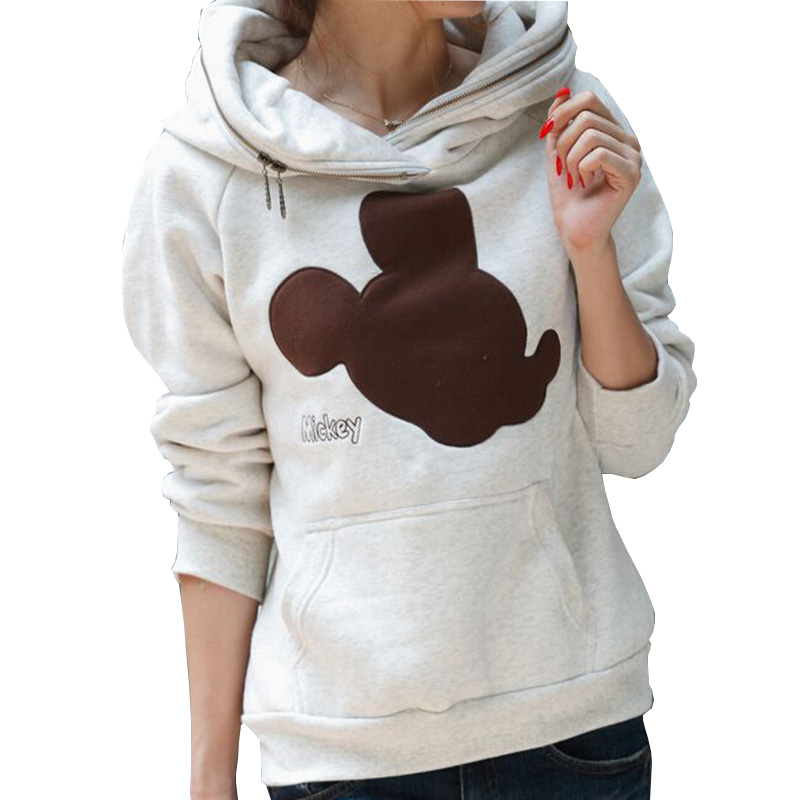 Aescondo New 2017 Spring Fashion Mickey Embroidered Hoodies Sweatshirts Woman Cartoon Hooded Sweat Suit Sudaderas Mujer Moleton