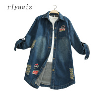 RLYAEIZ Plus Size 5XL New Women's Mid Long Denim Jacket Coats 2017 Spring Outerwear Fashion Letter Printed Patch Casual Jackets