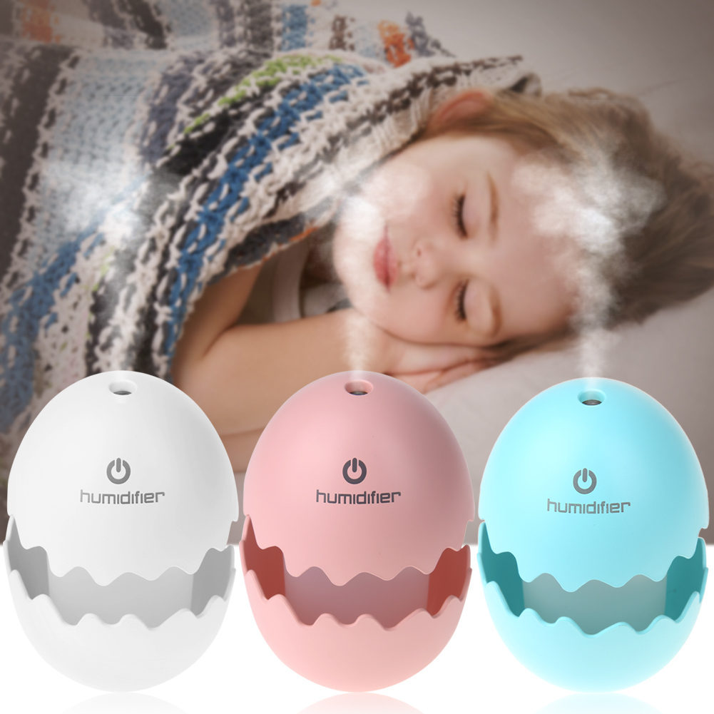 New Arrival Figurines Mini USB Egg Ultrasonic Humidifier Portable LED Light for Home Office Car Decoration Crafts Hot Selling