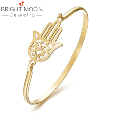 Bright Moon Fashion Jewelry Silver Color Stainless Steel Hand Bangles Suitable Bracelets for Women Men Jewelry Gift bright moon hot sale stainless steel women bracelets charming bangles suitable bracelets for women men jewelry gift