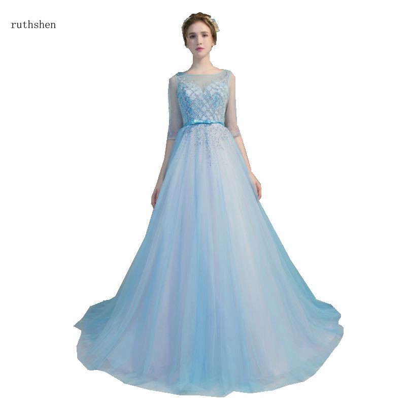 ruthshen Elegant Sky Blue Prom Dresses Illusion Formal Party Gowns Half Sleeves Beaded Vestido Longo Festa Gala Long Prom Gowns