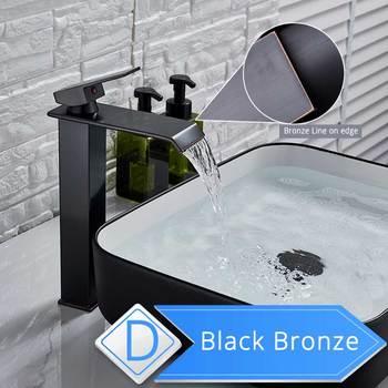 Brushed Nickel Waterfall Basin Faucet Single Lever Bathroom Vessel Sink Tap Deck Mounted Brass Lavatory sink Mixer Basin Tap 18