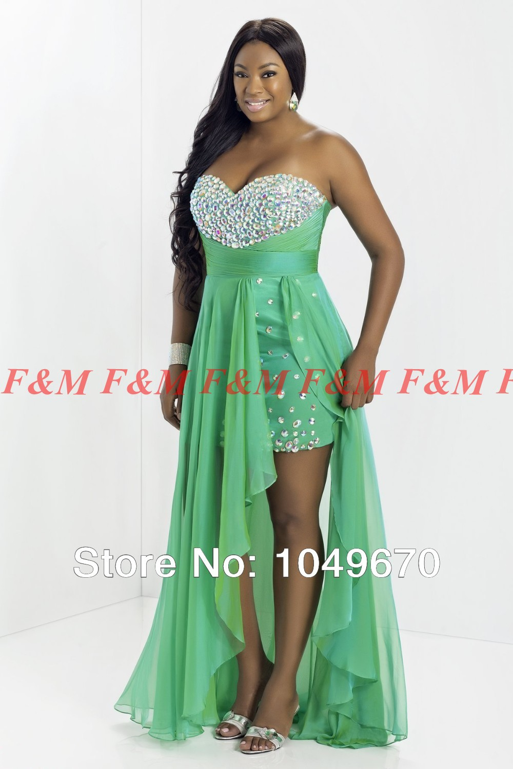 2014 short front long back lime green sweetheart crystal