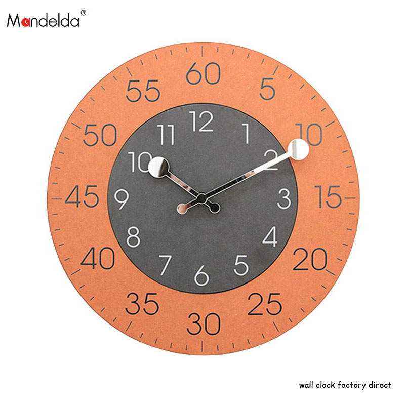 Fine Finish 12 inch Accurate Orange Wall Clock Arabic Numeral Dial Luxury gifts Home Accessories Attractive Designs