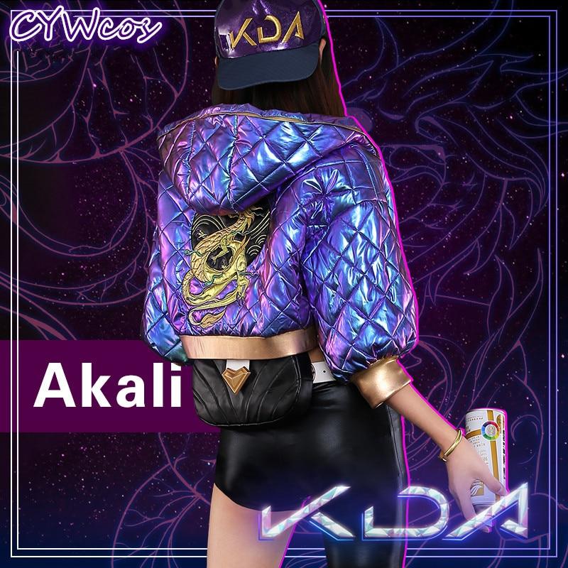 Game Cosplay LOL K/DA Akali Cosplay Costume KDA New Skin Women Sexy Uniforms Wig and Costumes Coat+Top+Pants