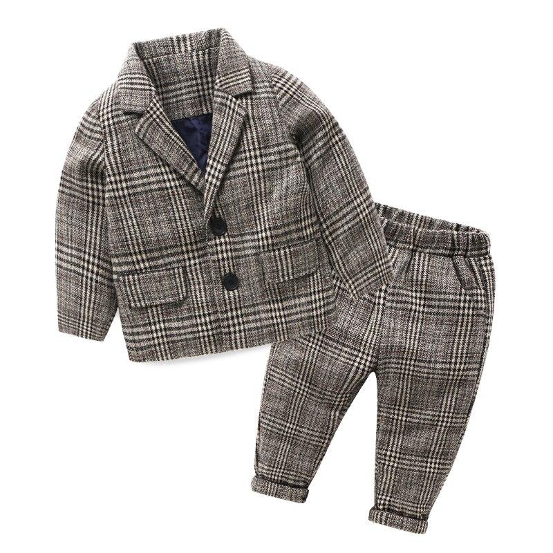 Mudkingdom Bambin Garçons Plaid Blazers Costumes Enfants Simple Boutonnage Crantée Grey Suits Automne Hiver Fête De Mariage Set Vêtements