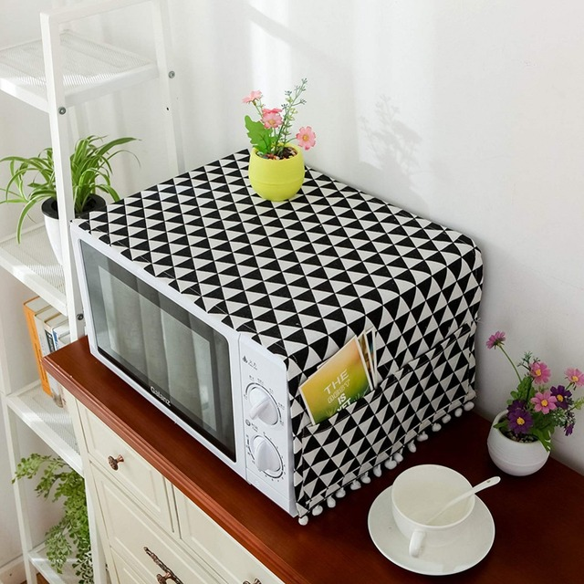 DusSimple Microwave Cover Microwave Oven Hood Oil Dust Cover with Storage Bag Kitchen Accessories Supplies Home Decoration