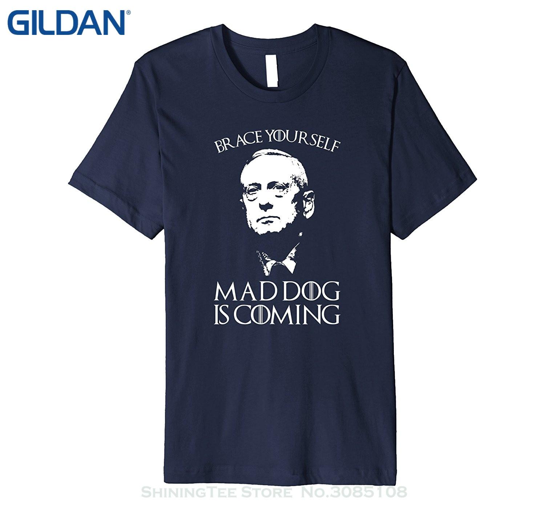 GILDAN T Shirt Cotton Men Short Sleeve Tee Shirts Brace Yourself Mad Dog Is Coming General Mattis 10452