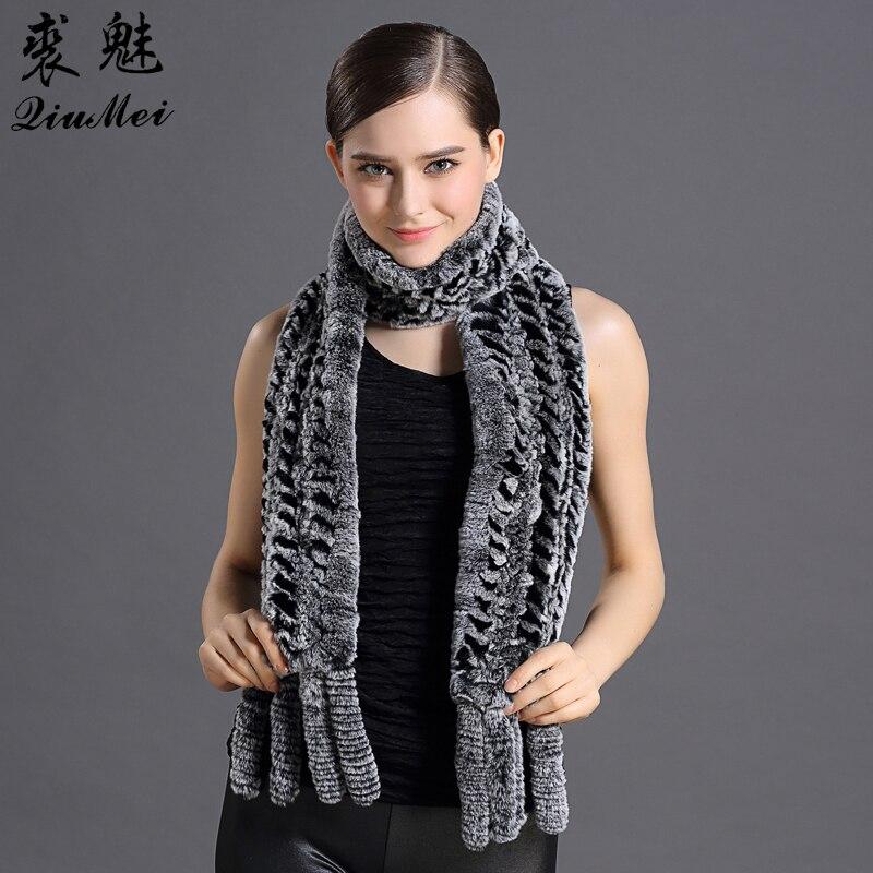 QiuMei russe femmes écharpe réel Rex lapin fourrure foulards filles décontracté tricoté véritable lapin fourrure hiver écharpes et châles avec gland
