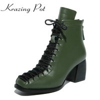 New Fashion Square Toe Lace Up Genuine Leather Solid Nude Women Ankle Boots Thick Heel Brand