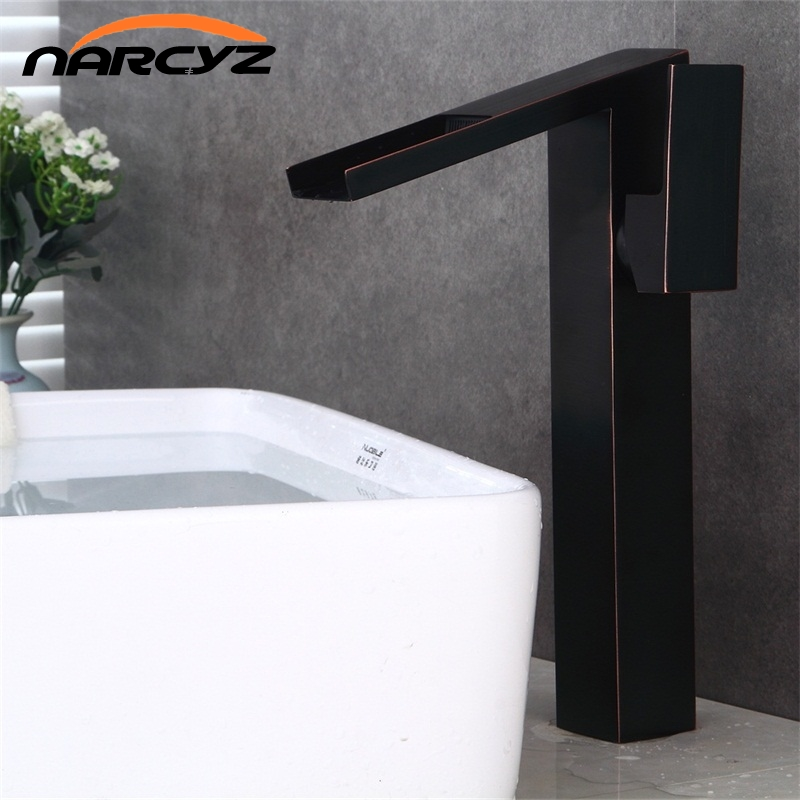 Bathroom high waterfall basin faucet tall stand basin mixer black oil brushed basin faucet sink Mixer