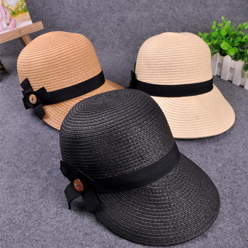 New Equestrian Kentucky Derby Hats Visor Sobrero Sun Hats for Women Straw Hat With Bow Summer Hat For Women Beach Cap