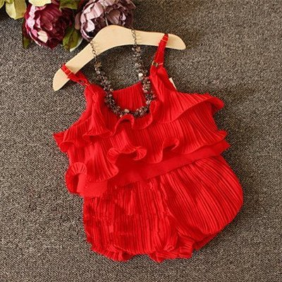 ФОТО Girls chiffon dress 2016 summer new temperament snow spins condole belt unlined upper garment lantern baby pants suit