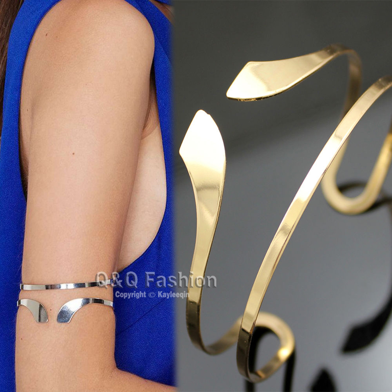 Egypt Bar Curve Geo Open Upper Arm Cuff Armlet Armband Bangle Wedding - Fashion Jewelry