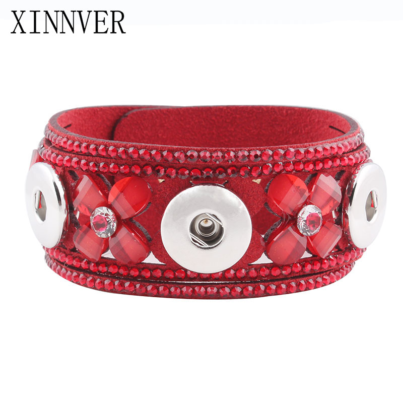 Interchangeable Jewelry New White and Red Color Multi-Layer Ribbon Leather Charm Bracelets Fit 18mm Snap Buttons ZE478