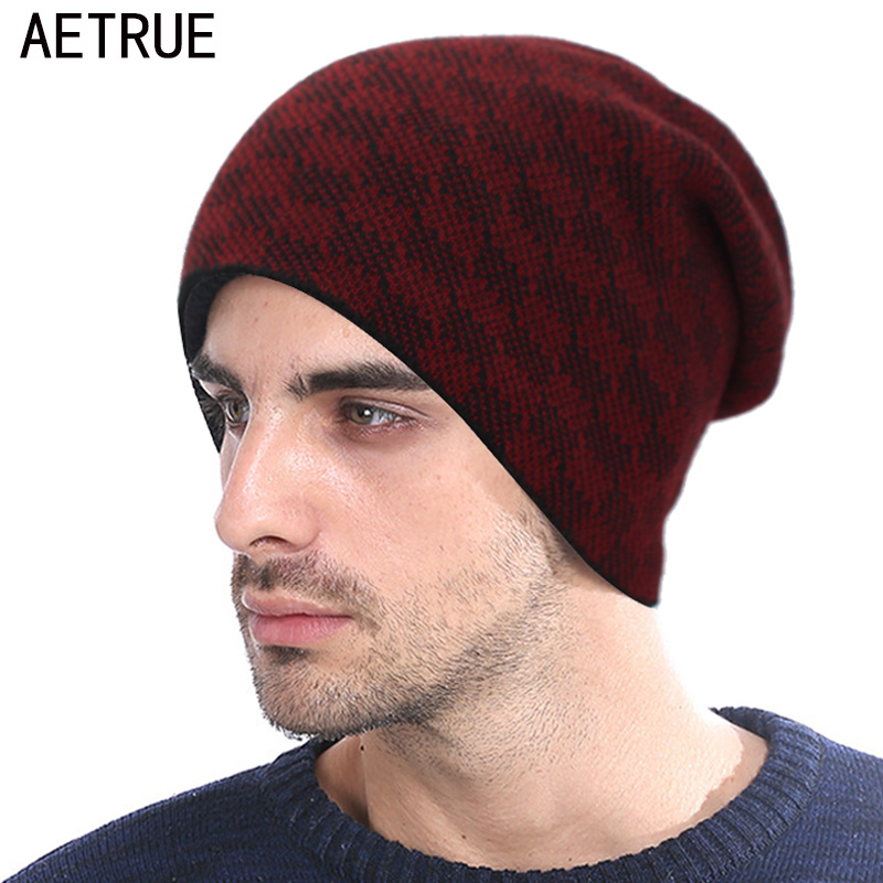 AETRUE Fashion Knitted Hat Winter Beanie Men Women Caps Warm Thick Bonnet Mask Wool Skullies Beanies Winter Hats For Men Hat
