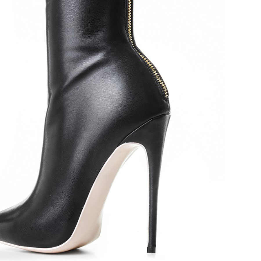 Prova Perfetto ขนาดใหญ่ 34-43 ผู้หญิงต้นขาสูงบู๊ทส์เซ็กซี่ pointed toe stiletto ส้นสุภาพสตรีบางขา over เข่าสีดำ