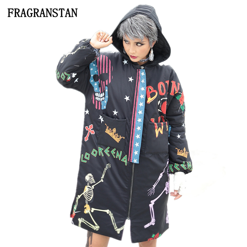 Female Autumn Winter Thick Black Hooded Parkas Women Fashion Letter Skull Print Coat Street Style Ladies