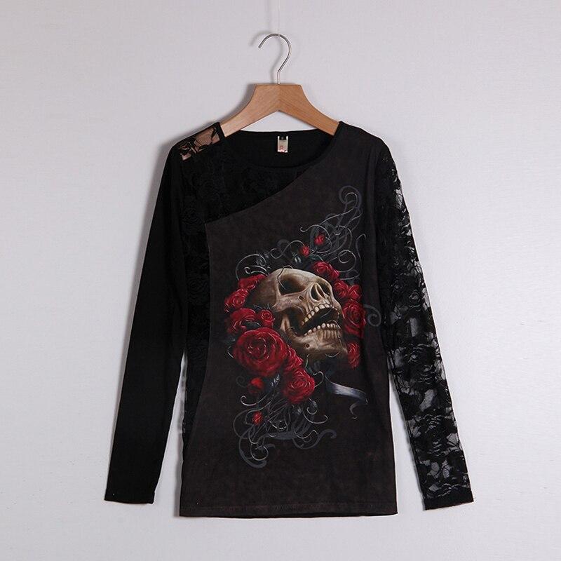 Skull Print Long Sleeve Tee Shirt Lace Patchwork Black Tee ...