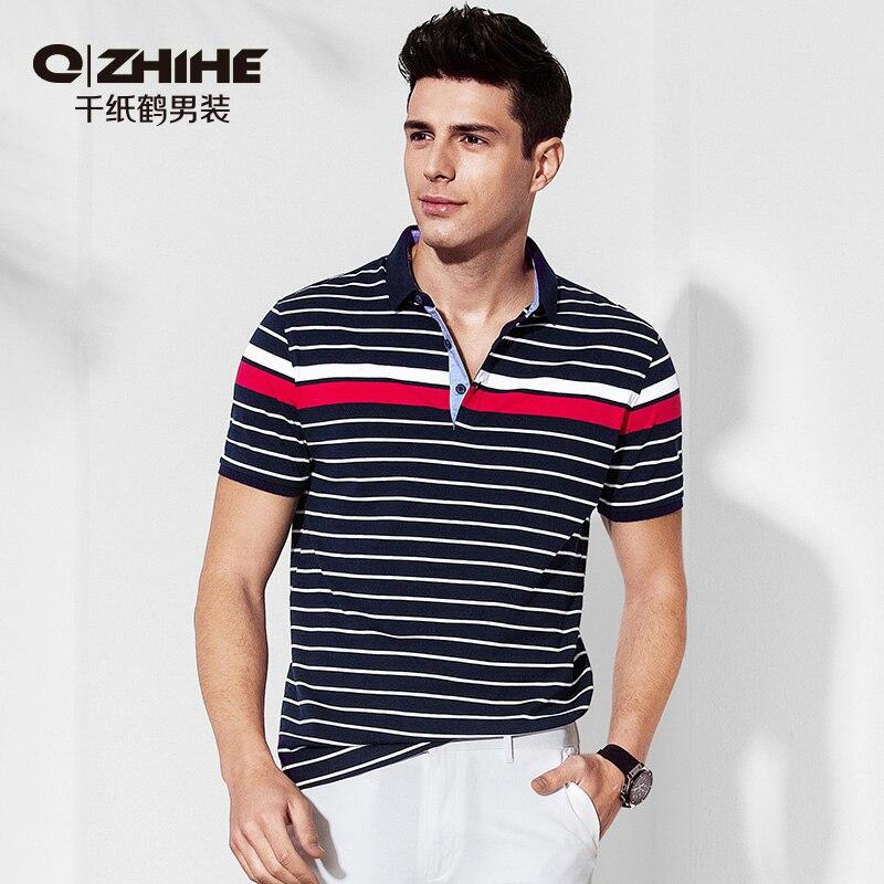 Qzhihe Männer Sommer Lose Streifen Polo Hemd Business Mann Sport Casual Kurzarm Revers T-shirt Dünne Bunte Tops Tees 2690