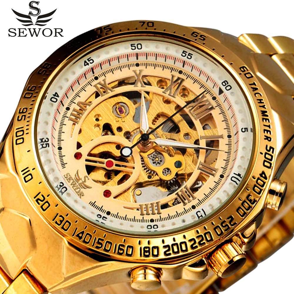 2017 SEWOR Sport Designer Gold Military Automatic Mechanical Watches Mens Top Brand Luxury Wristwatches Clock Skeleton Watch Men top luxury sewor big automatic military watch men gift gold stainless steel diamond skeleton clock mechanical mens wrist watches