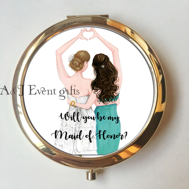 2pcs Lot Unique Will You Be My Bridesmaid Gift Best Friend Birthday Wedding Proposal Ideas Personalized Compact Mirrors